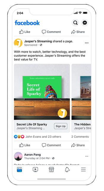 sreamovacie reklamy na FB